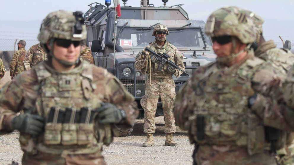 U.S. soldiers attend a training session for the Afghan Army in Herat, Afghanistan,  Feb. 2, 2019.