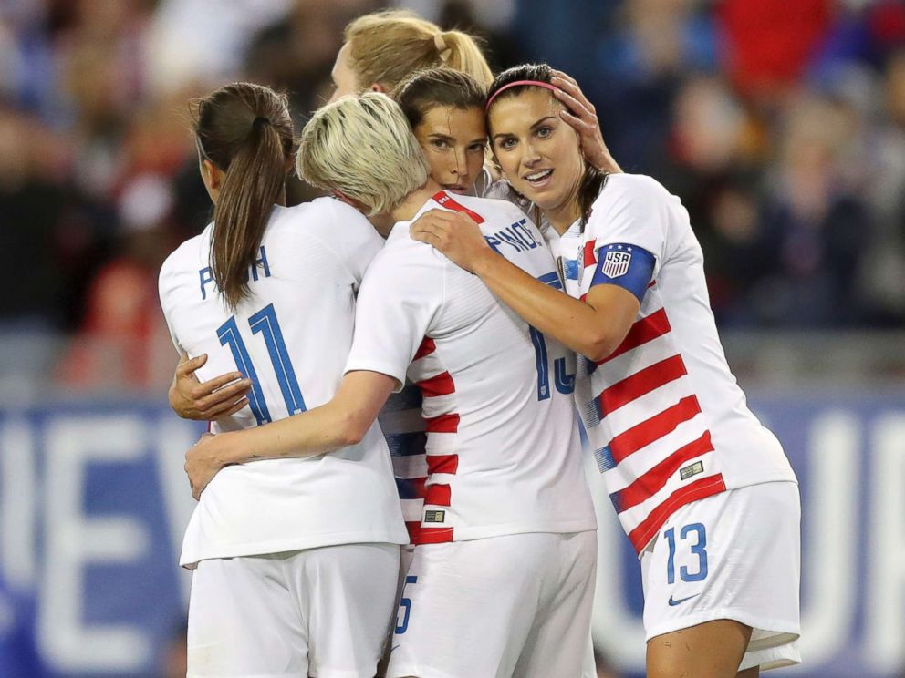 PHOTO: United States Tobin Heath, second from right, is congratulated on her goal by Mallory Pugh (11), Megan Rapinoe and Alex Morgan (13) during the first half of a SheBelieves Cup soccer match against Brazil, March 5, 2019, in Tampa, Fla.
