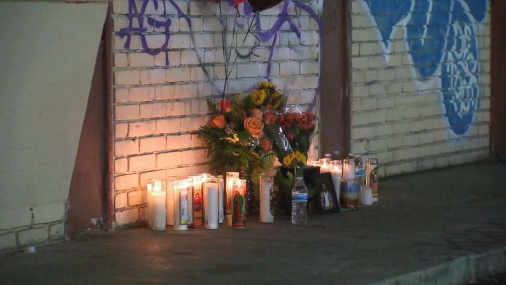 PHOTO: A memorial sits in South Los Angeles at the place where Victor McElhaney, 21, was killed during an attempted robbery on March 10, 2019.