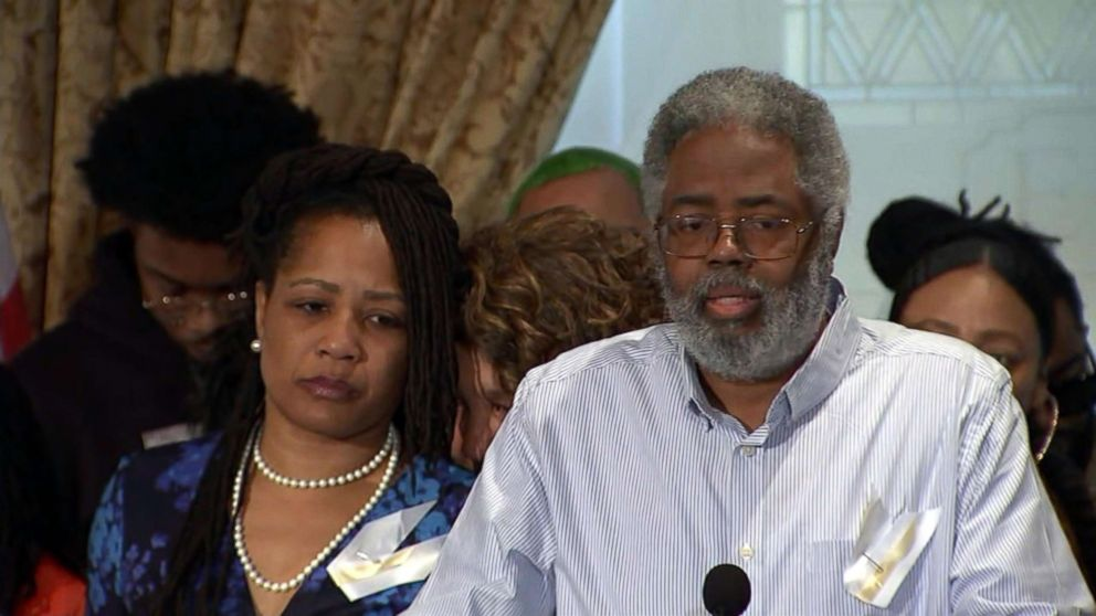 PHOTO: Clarence McElhaney, the husband of Councilwoman Lynette Gibson McElhaney, speaks at a press conference on March 12, 2019, about the death of his son, Victor McElhaney, 21, who was killed during an attempted robbery.