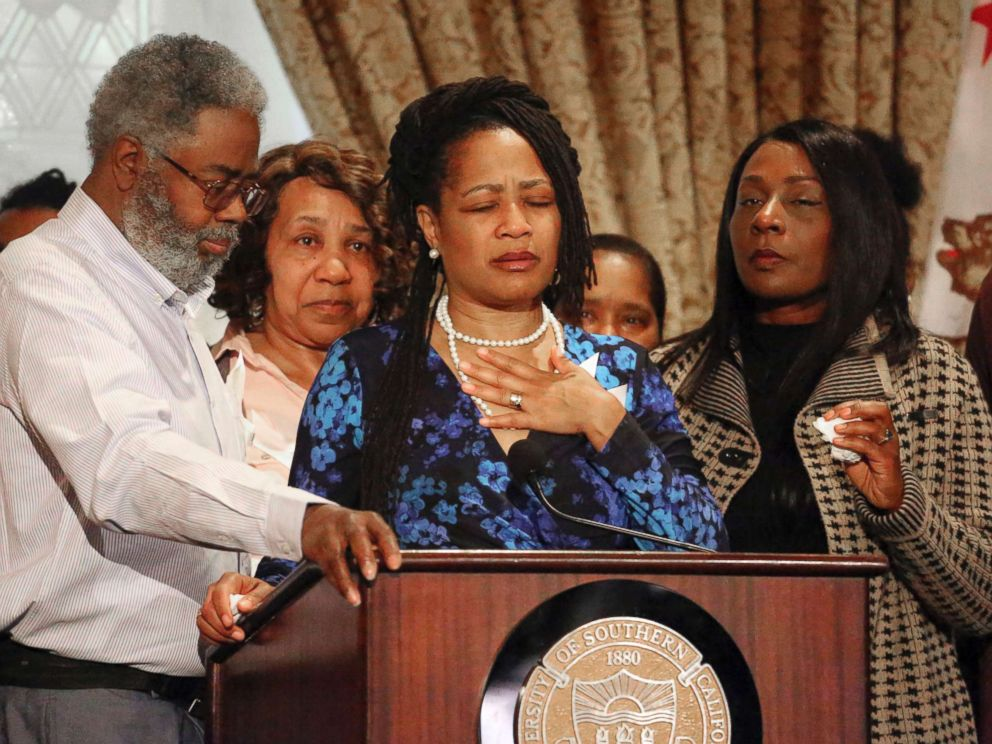 PHOTO: Oakland City Councilwoman Lynette McElhaney, the mother of Victor McElhaney, 21, a student killed Sunday, March 10, 2019, during an attempted robbery, talks about her son during a news conference on the USC campus in Los Angeles, March 12, 2019.