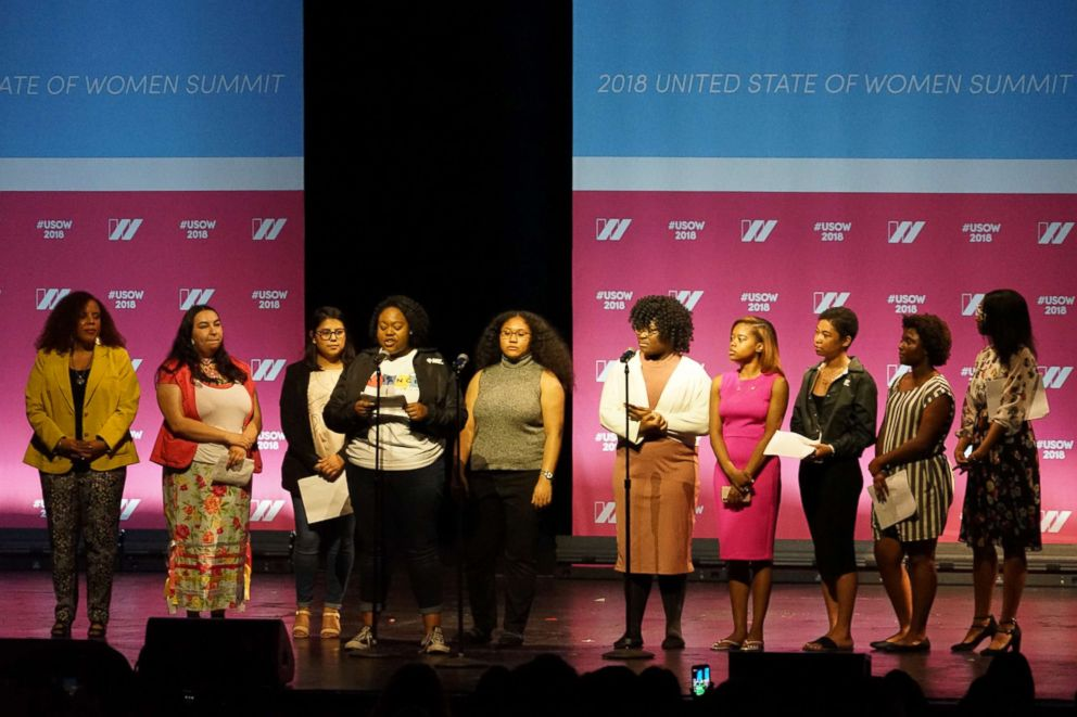 PHOTO: Thousands of women saw some of the most famous women in the country take the stage at the United State of Women summit in Los Angeles, May 5, 2018.