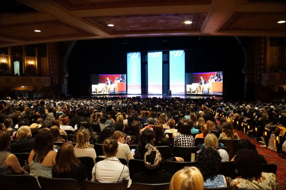 PHOTO: Thousands of people sit in the Shrine Auditorium at the United State of Women summit in Los Angeles, May 5, 2018.