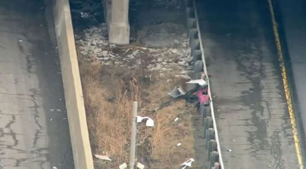 An overhead shot of where a U.S. Postal Service worker was shot and killed on Interstate 57 in Oak Village, Ill., on Monday, Feb. 4, 2019.