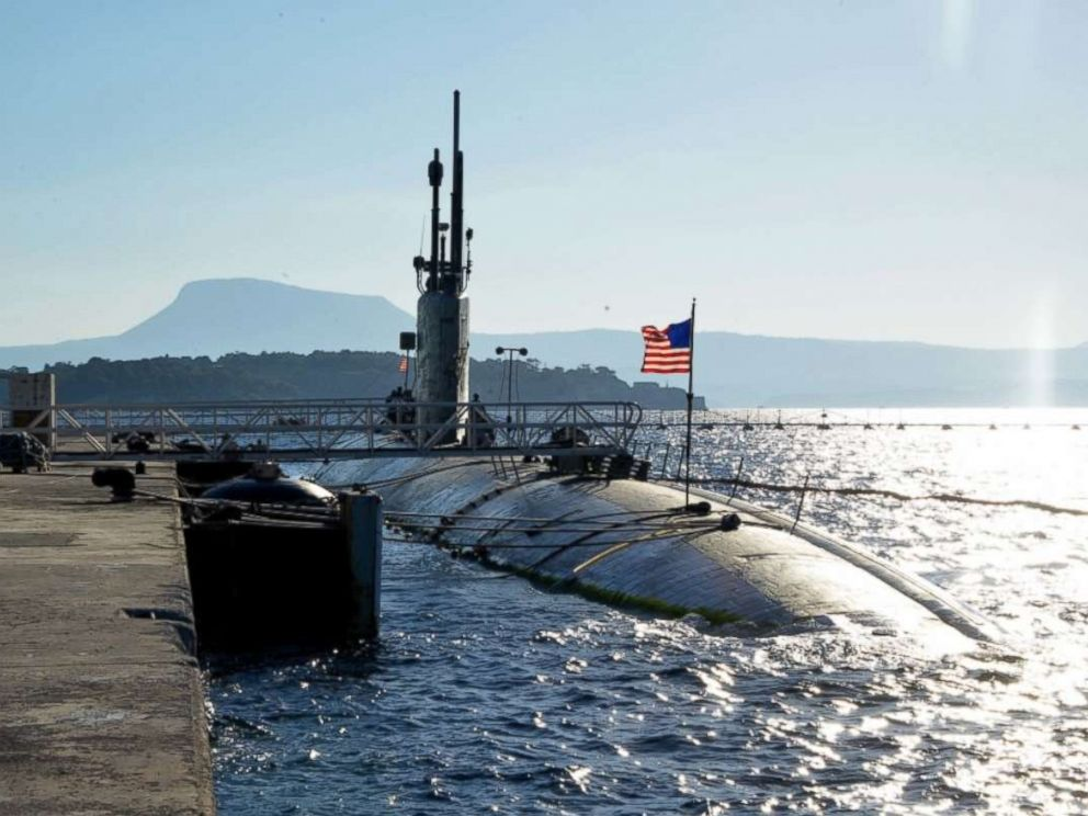 PHOTO: USS Boise moors at Marathi NATO Pier Complex in Souda Bay, Greece, during a scheduled visit Dec. 23, 2014.