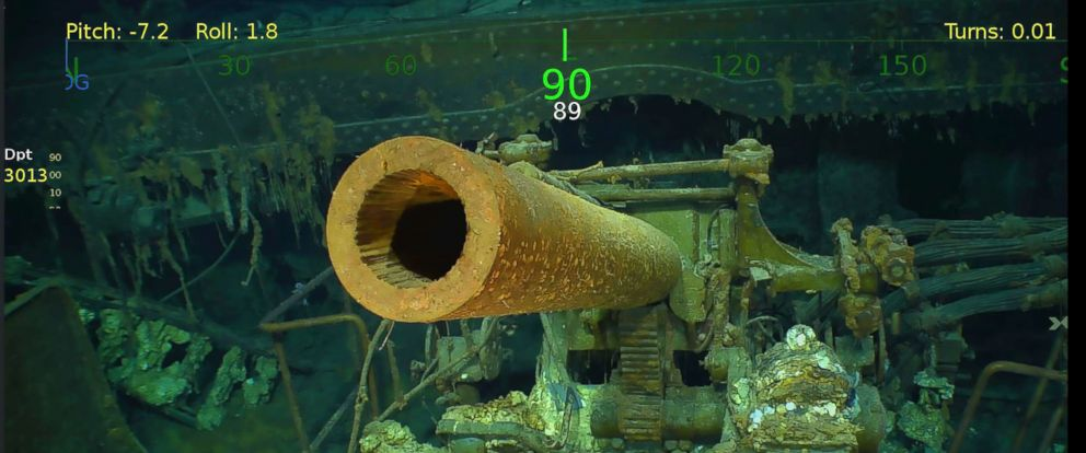 PHOTO: The USS Lexington, a U.S. aircraft carrier which sank during World War II, has been found in the Coral Sea. A search team led by Microsoft co-founder Paul G. Allen discovered the wreckage, March 5, 2018.