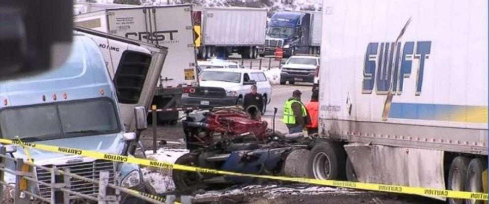 Icy roads caused a massive pileup involving 23 vehicles in Summit County, Utah, on Monday, March 26, 2018.