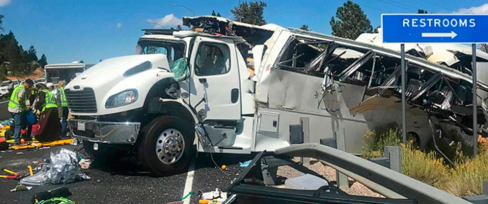 PHOTO: This photo released by the Garfield County Sheriffs Office shows a tour bus after it crashed near Bryce Canyon National Park in southern Utah, killing at least four people and critically injuring up to 15 others, Sept. 20, 2019.