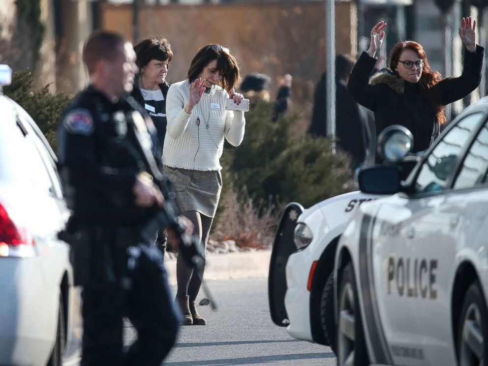PHOTO: People evacuate after a reported shooting at Fashion Place Mall in Murray, Utah, Jan. 13, 2019.