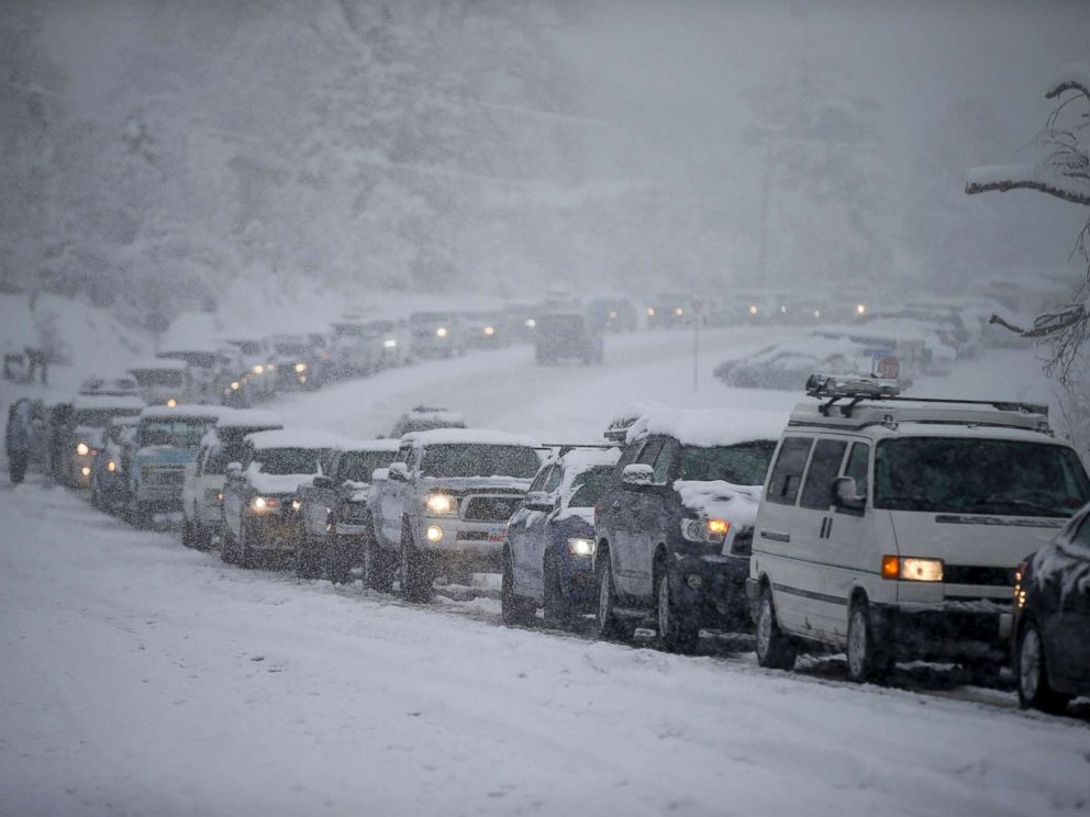 PHOTO: Traffic is backed up in all directions at the mouth of Big Cottonwood Canyon, west of Salt Lake City, as the canyon experiences intermittent closures during a winter storm, Jan. 21, 2019.