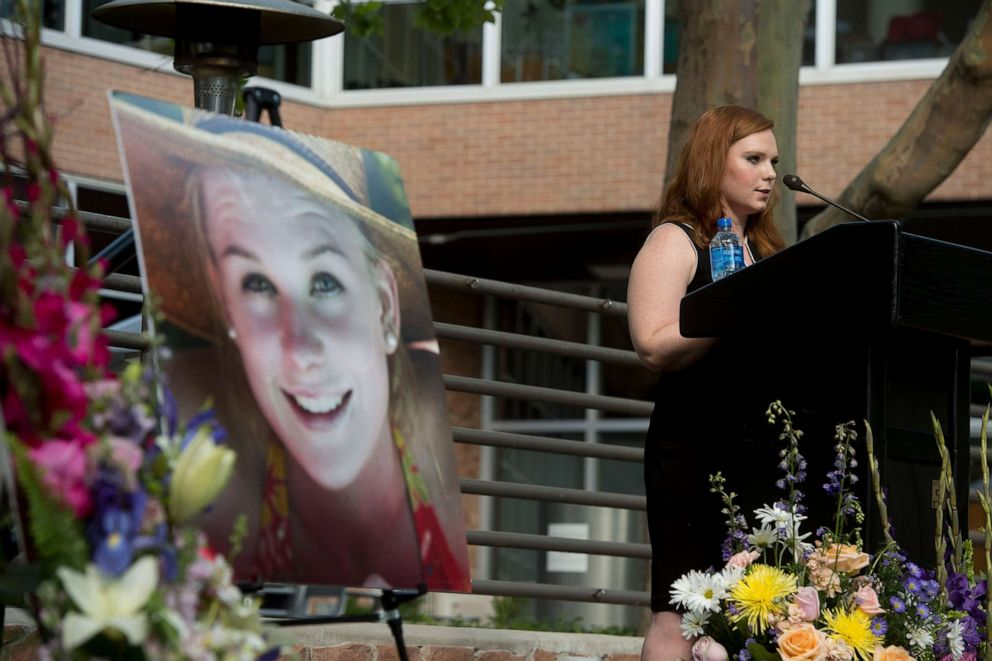 PHOTO: Ashley Fine speaks during a vigil for Mackenzie Lueck at the university in Salt Lake City, July 1, 2019.