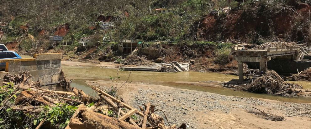 PHOTO: A collapsed bridge in Utuado, Puerto Rico, taken in Oct. 2017 is the biggest obstacle for survivors to get aid.