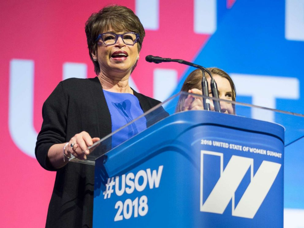 PHOTO: Valerie Jarrett, co-host of the 2018 United State of Women summit, speaks on stage at the Shrine Auditorium in Los Angeles, May 5, 2018.