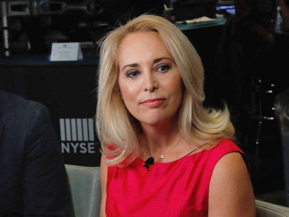 PHOTO: Film director Doug Liman, left, and former undercover CIA officer Valerie Plame are interviewed on Cheddar, on the floor of the New York Stock Exchange, Oct. 22, 2018.
