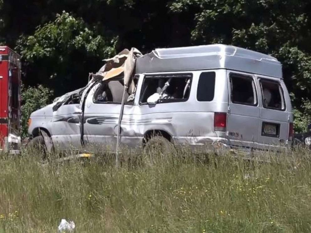 PHOTO: Two people were killed and another nine injured when a van flipped and ejected all 11 people in Attleboro, Mass., on Saturday, June 8, 2019.