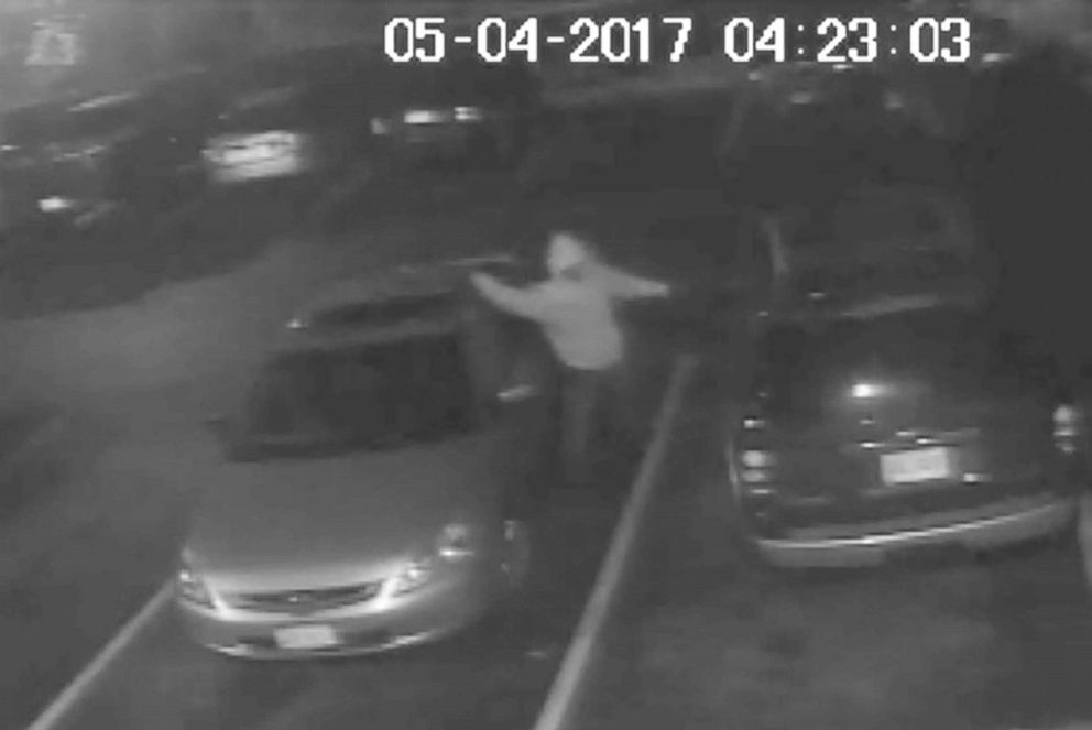 PHOTO: A single subject is captured on surveillance video during the vandalism incident on May 4, 2017.