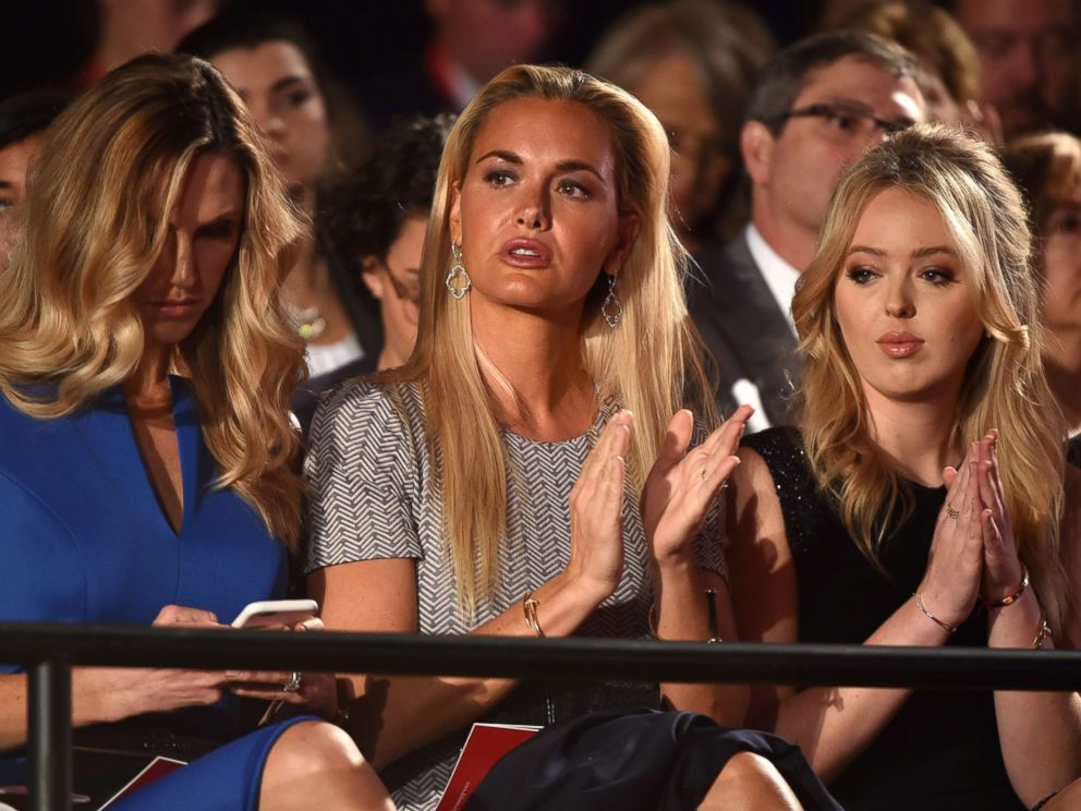 PHOTO: Donald Trumps daughters-in-law Lara Yunaska and Vanessa Haydon sit with daughter Tiffany Trump before the start of the second presidential debate at Washington University in St. Louis, Oct. 9, 2016.