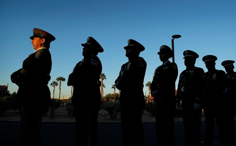 PHOTO: Members of a law enforcement honor guard stand in line during a ceremony, Oct. 1, 2019, on the anniversary of the mass shooting two years earlier in Las Vegas.