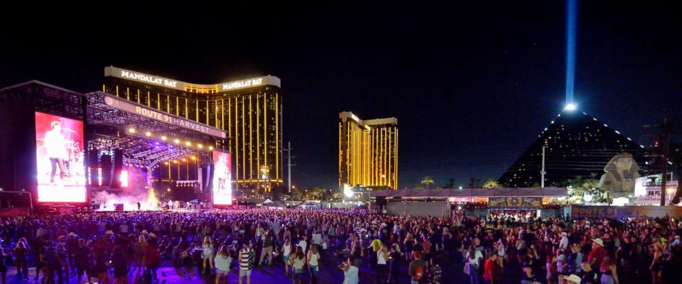 PHOTO: A photo taken on Sept. 30,. 2017, shows concertgoers and the Mandalay Bay hotel behind the stage at left, one night before a gunman opened fire on attendees at the event on Oct. 1, 2017.