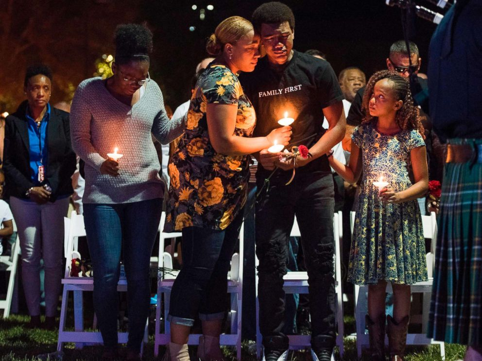 PHOTO: The family of Las Vegas Metropolitan Police Department Officer Charleston Hartfield attend a vigil for Charleston Hartfield at Police Memorial Park on October 5, 2017 in Las Vegas, Nevada.