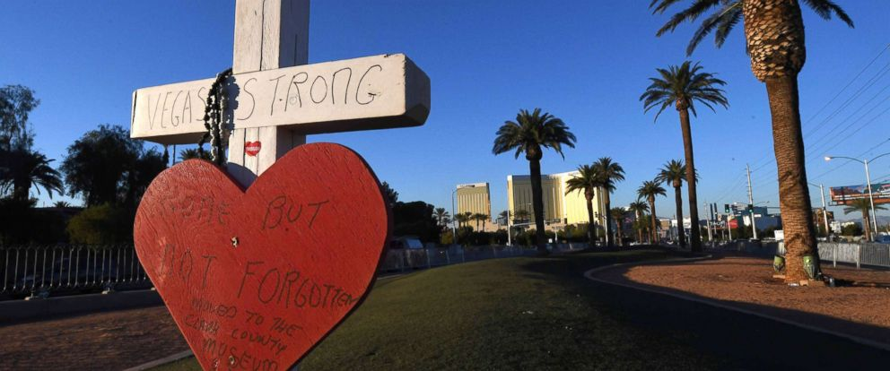 PHOTO: A solitary cross remains at a memorial site in front of the Mandalay Bay resort and casino on the Las Vegas strip, Nov. 15, 2017, honoring the victims who were killed in a mass shooting.