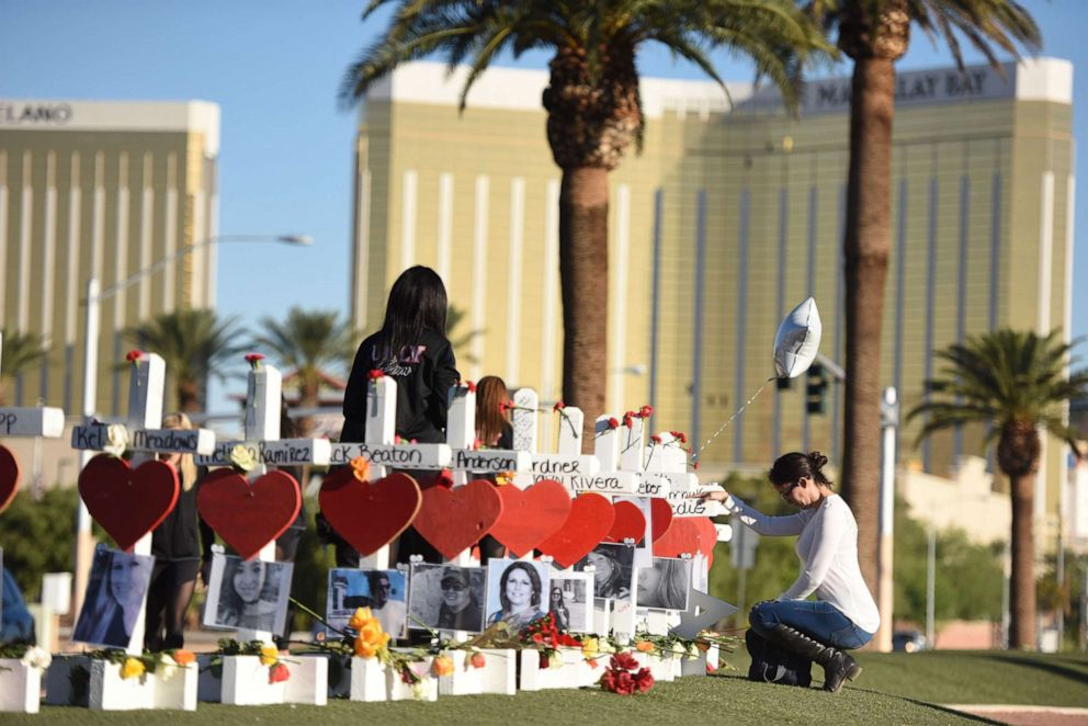 PHOTO: White crosses mark the victims of a mass shooting on the Las Vegas Strip just south of the Mandalay Bay hotel, Oct. 6, 2017, in Las Vegas, Nevada.