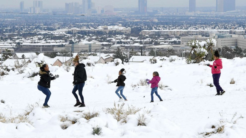 Los Angeles, Las Vegas see rare snowfall as storm moves to Northeast, South for the weekend