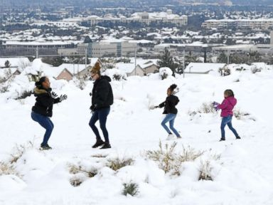 LA, Vegas see rare snowfall as storm moves to Northeast, South for the weekend