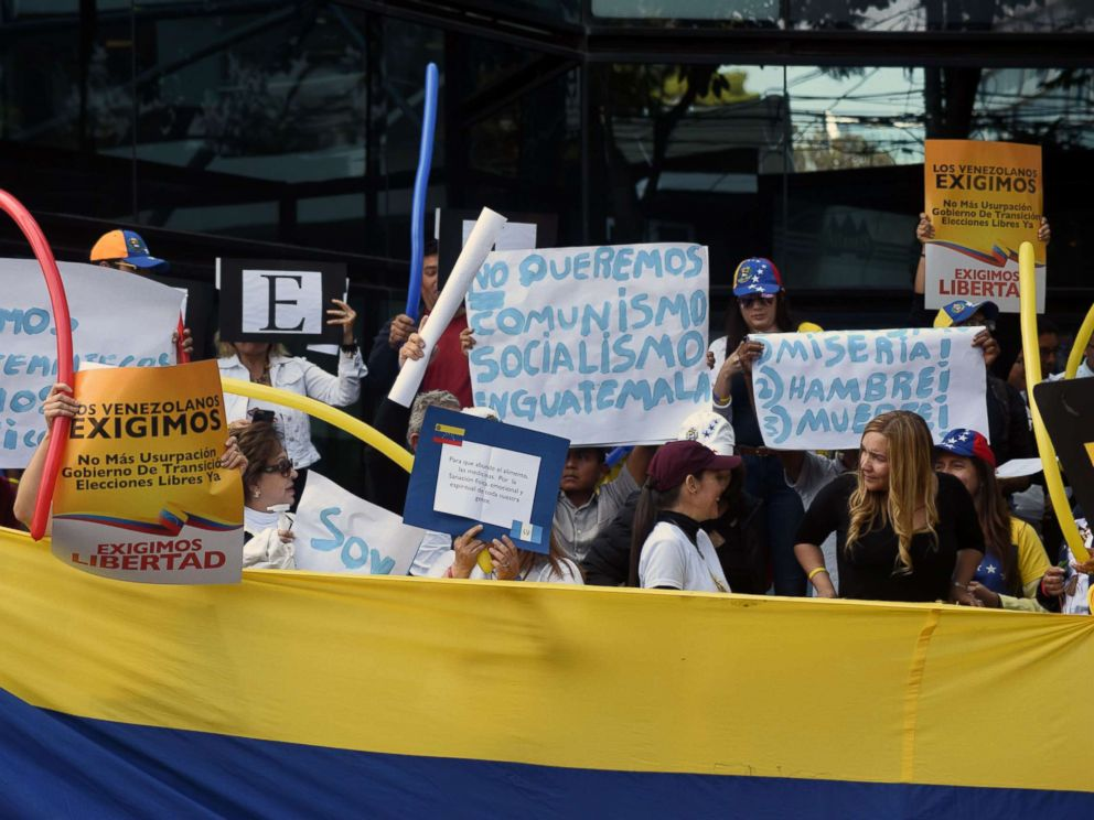 PHOTO: Venezuelans hold a demonstration outside the Venezuelan Embassy in Guatemala City in support of opposition leader Juan Guaidos self-proclamation as acting president of Venezuela, Jan. 23, 2019.