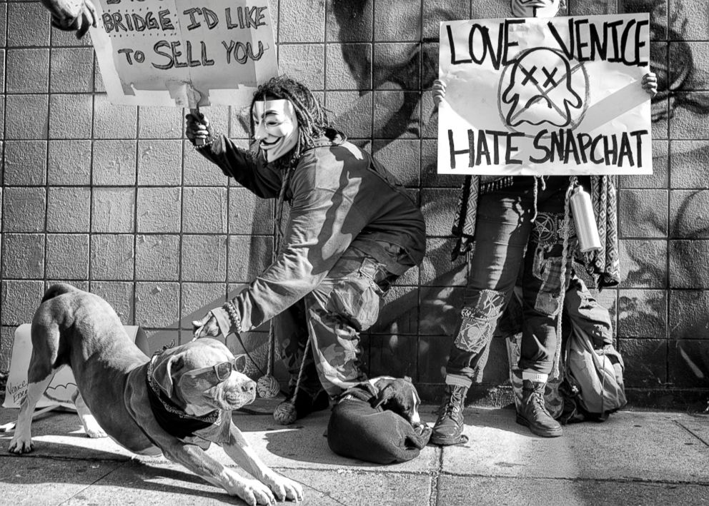 PHOTO: Love Venice, Hate Snapchat - the day Snapchat goes public on the Nasdaq, Venice residents organize a protest in front of Snapchat's Market Street headquarters, March 3, 2017.  Venice Beach: The last days of a bohemian paradise? venice beach 60 ht mem 180801 hpEmbed 7x5 992