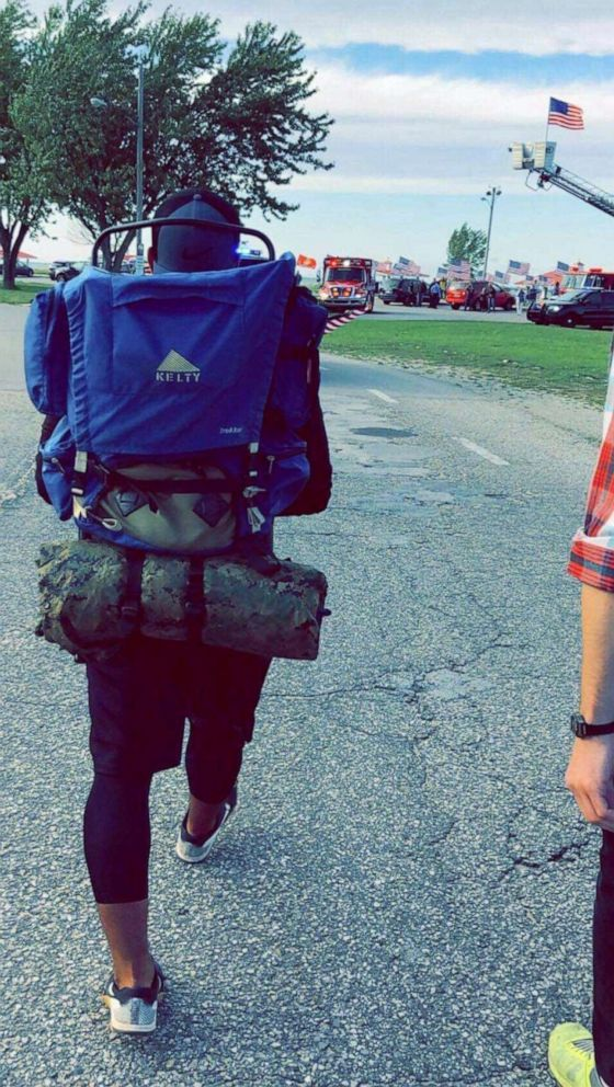 PHOTO: Travis Snyder walked 810 miles in 42 days to raise awareness for veteran suicide prevention.