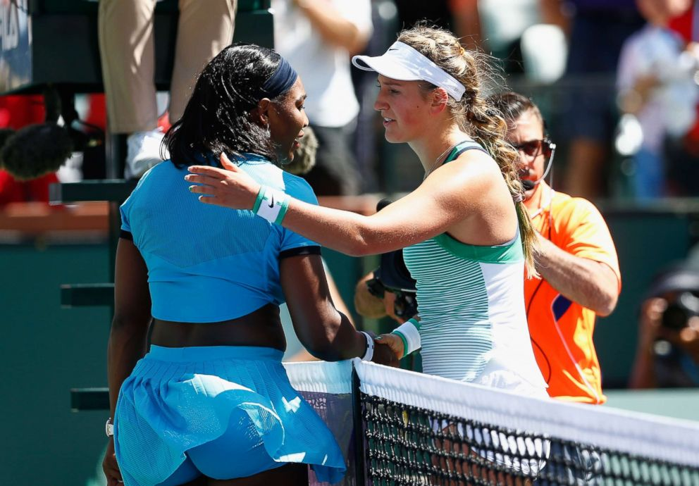 PHOTO: Victoria Azarenka of Belarus is congratulated by Serena Williams after her straight sets win in the final during day fourteen of the BNP Paribas Open at Indian Wells Tennis Garden on March 20, 2016 in Indian Wells, Calif.