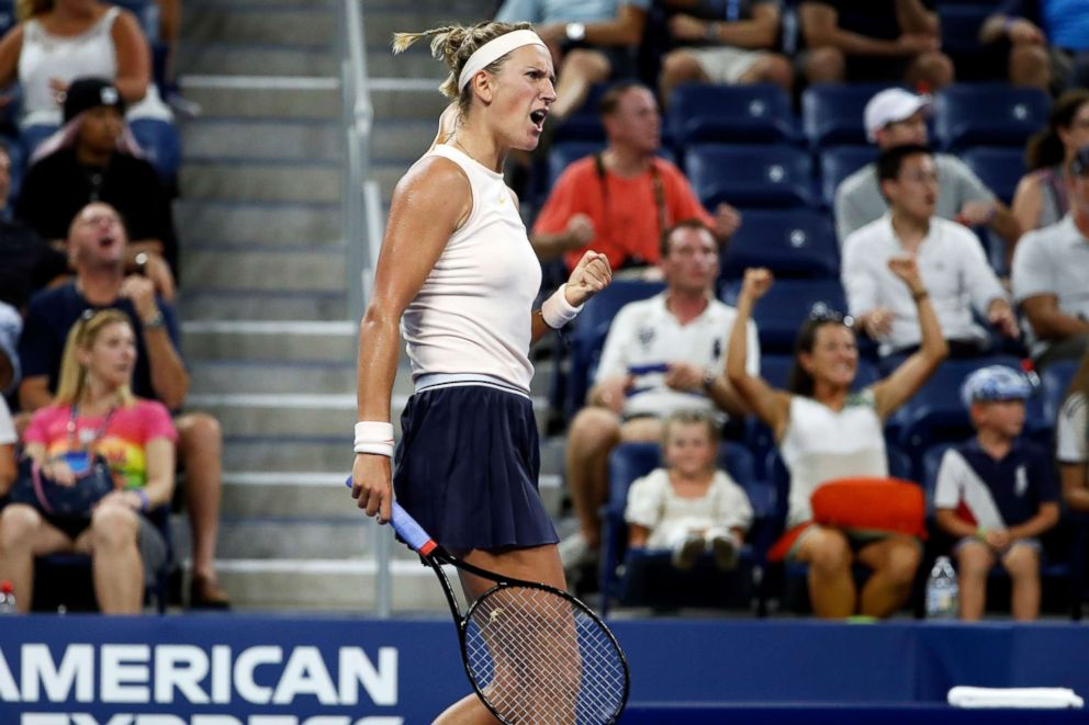 PHOTO: Victoria Azarenka, of Belarus, reacts to winning a point against Viktoria Kuzmova, of Slovakia, during the first round of the U.S. Open tennis tournament, Aug. 27, 2018, in New York.