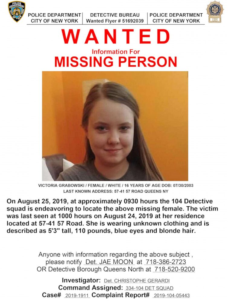 PHOTO:Victoria Grabowski is seen in this undated photo on a missing person poster released by the New York City Police Department.