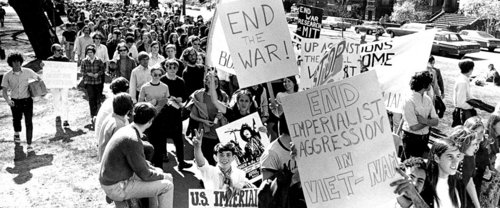 PHOTO: Demonstrators march in a protest against U.S. involvement in the Vietnam War in Boston, April 26, 1969.