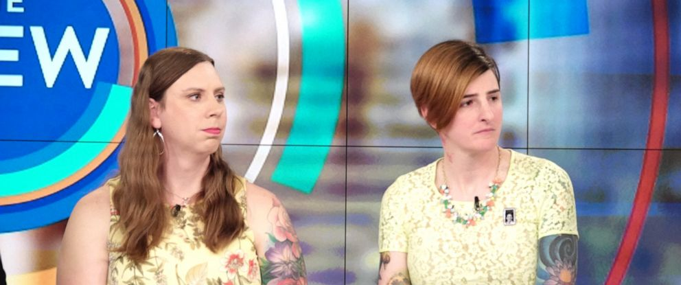 """PHOTO: Sgt. Patricia King and Army Capt. Jennifer Peace talk about whats at stake for transgender troops with Trumps new policy at """"The View"""" on Wednesday, April 10, 2019."""