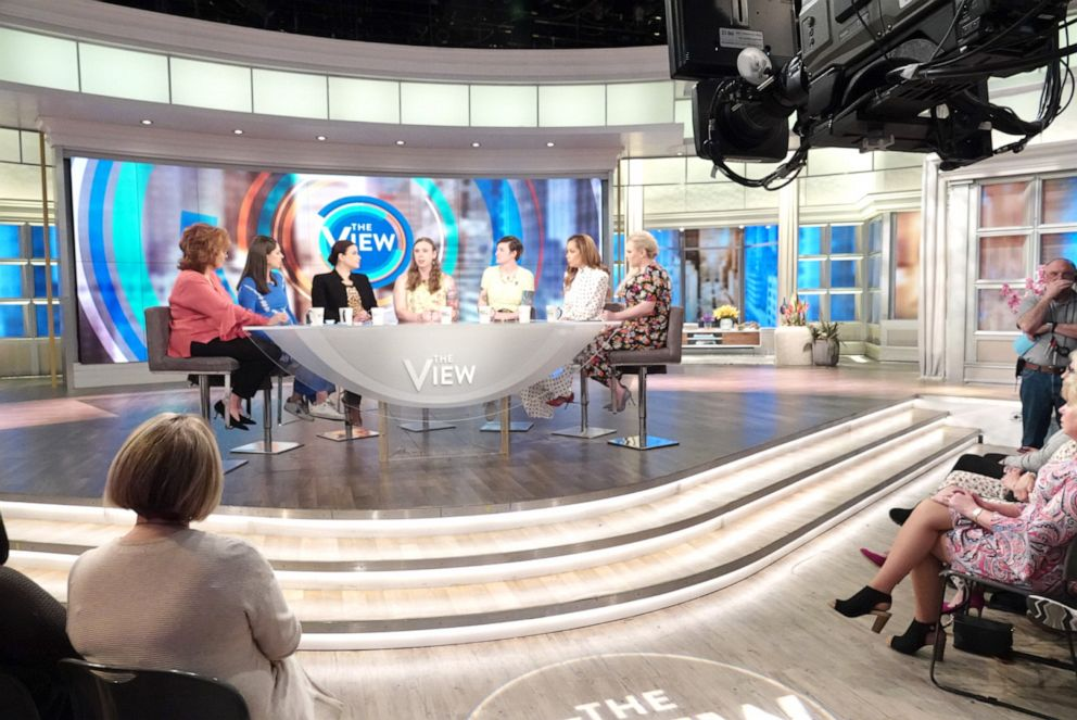 PHOTO: Sgt. Patricia King and Army Capt. Jennifer Peace talk about whats at stake for transgender troops with Trumps new policy at The View with co-hosts Joy Behar, Abby Huntsman, Ana Navarro, Sunny Hostin, and Meghan McCain, April 10, 2019.