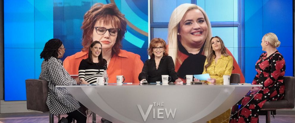 "PHOTO: ""The View"" co-hosts Whoopi Goldberg, Abby Huntsman, Joy Behar, Sunny Hostin, and Meghan McCain respond to the ""Saturday Night Live"" parody of their on-air discussions on Monday, April 22, 2019."