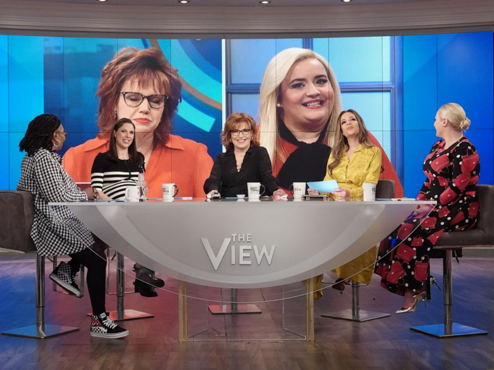 PHOTO: The View co-hosts Whoopi Goldberg, Abby Huntsman, Joy Behar, Sunny Hostin, and Meghan McCain respond to the Saturday Night Live parody of their on-air discussions on Monday, April 22, 2019.