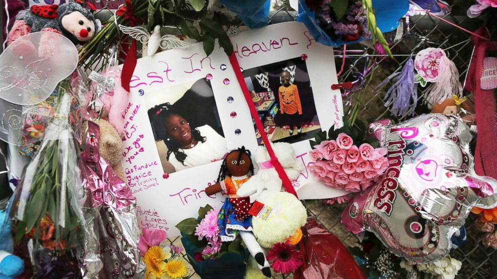 Dozens of tributes at a large memorial to Trinity Love Jones, a 9-year-old girl whose body was found in a duffel bag along a suburban Los Angeles equestrian trail, in Hacienda Heights, Calif, March 11, 2019 in this file photo.