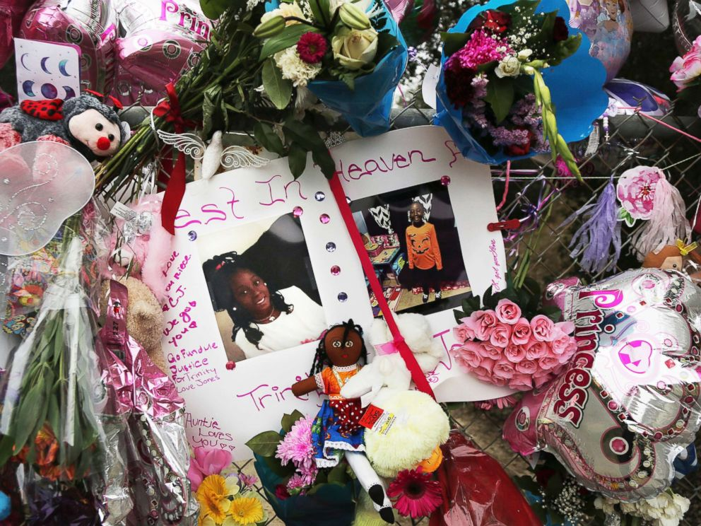 PHOTO: Dozens of tributes at a large memorial to Trinity Love Jones, a 9-year-old girl whose body was found in a duffel bag along a suburban Los Angeles equestrian trail, in Hacienda Heights, Calif, March 11, 2019 in this file photo.