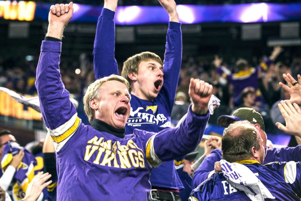 PHOTO: Fans react after Stefon Diggs, No. 14, of the Minnesota Vikings scored a 61 yard touchdown at the end of the fourth quarter of the NFC Divisional Playoff game against the New Orleans Saints on Jan. 14, 2018, in Minneapolis.