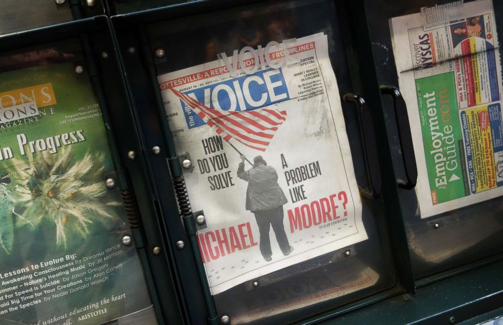 PHOTO: The Village Voice is on sale at a newsstand on 42nd Street on Aug. 22, 2017 in New York.