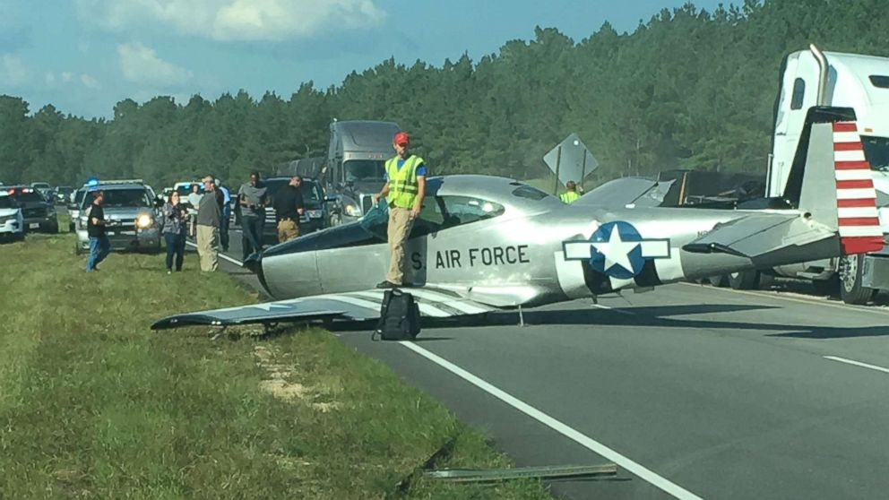 Boy Williams managed to safely land his single-engine plane on Highway 45 near Meridian, Miss., following mechanical problems on Friday, Oct. 5, 2018.