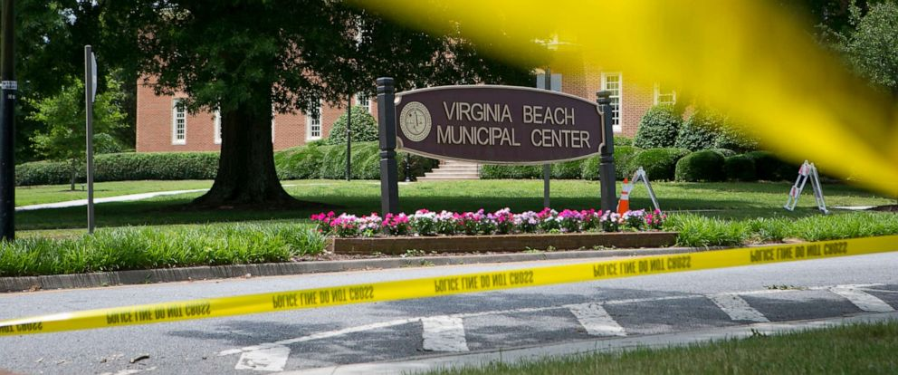 PHOTO: Police tape outside a municipal building in Virginia Beach, Va., the site of a mass shooting that left 12 dead the day before, on Saturday, June 1, 2019.