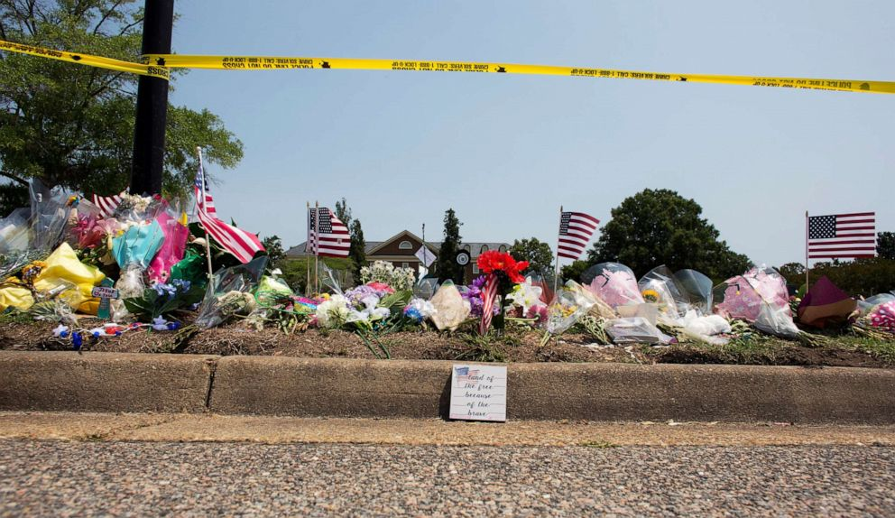 PHOTO: This June 3, 2019, photo shows the memorial site honoring victims of a mass shooting at the Virginia Beach Municipal Center in Virginia Beach, Va.