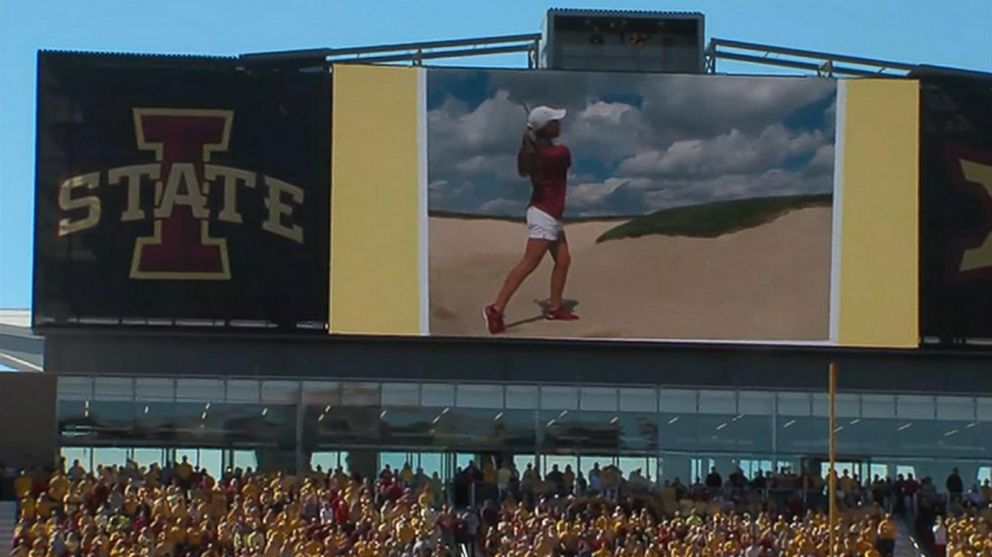 PHOTO: Iowa State University honored slain golfer Celia Barquin Arozamena with an elaborate ceremony in Ames, Iowa, Sept. 22, 2018.