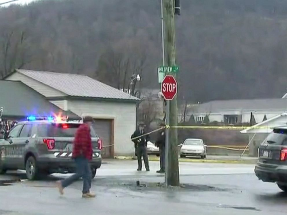 PHOTO: Scene of a shooting at a Pennsylvania car wash in Melcroft, Pa., Jan. 28, 2018.
