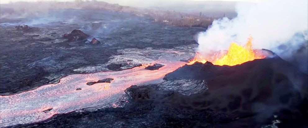 PHOTO: Video from the United States Geological Survey shows lava flowing out of Kilauea Volcanos fissure 8 on Hawaiis Big Island and then entering the ocean at Kapoho Bay and Vacationland.