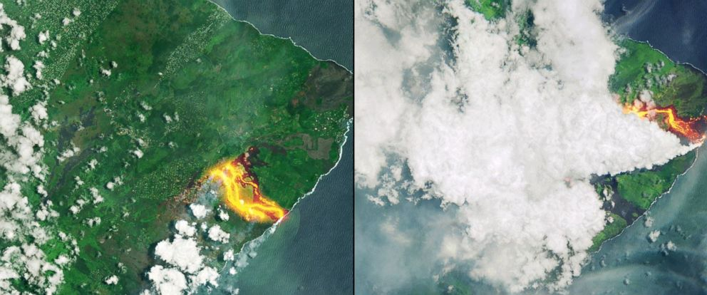 satellite images show effects of kilauea volcano s latest eruption